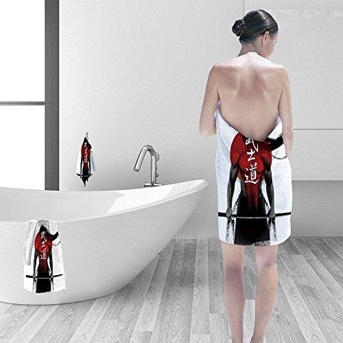 Nalahomeqq Bath towel set Samurai Bushido Japanese word for the way of the samurai life 3D Digital Printing No Chemical OdorEco-Friendly Non Toxic13.8 x 13.8-11.8