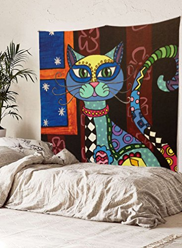 "Cat Wall Tapestry Fabric Wallpaper Home Decor,60""x 80"",Twin Size"