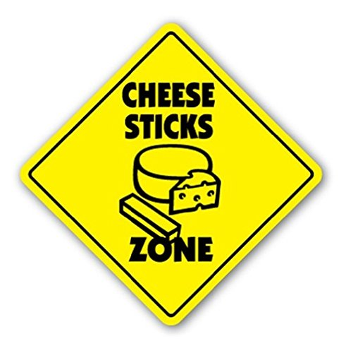 Cheese Sticks Zone Sign Xing Gift Fried Dipping Sauce Mozzerella Marinara Sticker Sign - Sticker Graphic Sign - Will Stick to Any Smooth ()
