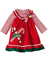 Rare Editions Red Dot Corduroy Candy Cane Jumper Set Baby Girl