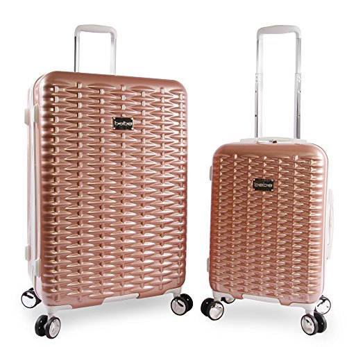 BEBE Women's Lydia 2 Piece Set Suitcase with Spinner Wheels, Rose Gold by bebe