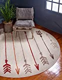 Unique Loom Autumn Collection Modern Arrows Warm Toned Ivory Round Rug (8′ x 8′)