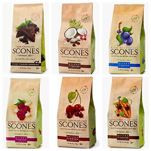 Sticky Fingers Bakeries Scones Mixes (Variety - Pack of 6) Raspberry White Chocolate, Wild Blueberry, Cherry Chocolate Chip, Cocoa Chocolate Chip, Toasted Coconut Chocolate Chip, and Dark Chocolate - Cherry Scone