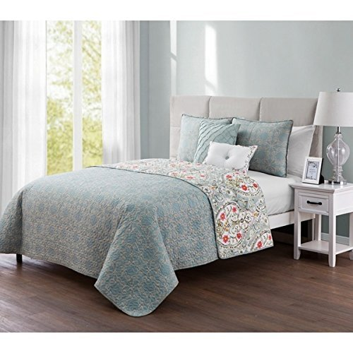 4pc Girls Blue Grey Floral Medallion Theme Quilt Twin XL Set, Pretty Geometric Daisy Flower Bedding, Gray Pink Red Yellow, Girly Damask Scroll Motif Daisies Themed Pattern (Damask Quilt Twin)