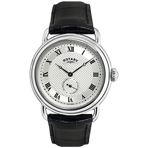Rotary Quartz Stainless Steel and Leather Casual Watch, Color Black (Model: GS02423/21)