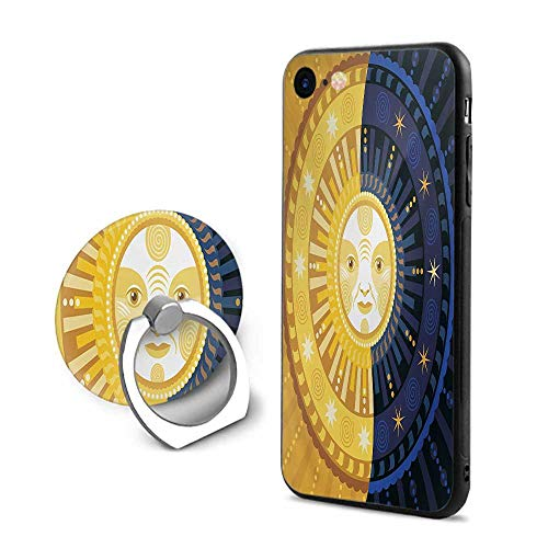 Sun and Moon iPhone 6 Plus/iPhone 6s Plus Cases,Solstice Theme Transformation of The Day Ornament Spiritual Boho Art Design Multicolor,Mobile Phone Shell Ring Bracket