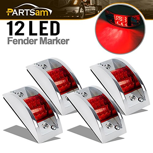 (Partsam 4X Red Sealed Chrome Armored LED Trailer Clearance and Side Marker Light 12 LED)