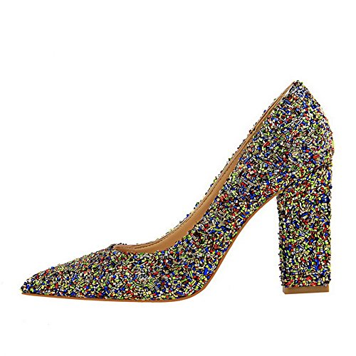 Amoonyfashion Mujeres's Pointed-toe High-heels Lentejuelas Solid Pull-on Pumps-Zapatos Multicolor