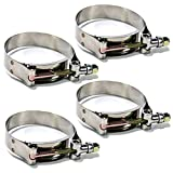 """4 Pack 2.25"""" inch Heavy Duty Stainless Steel T-Bolt Clamp for 2 1/4 inch Turbo Intake Intercooler Hose"""