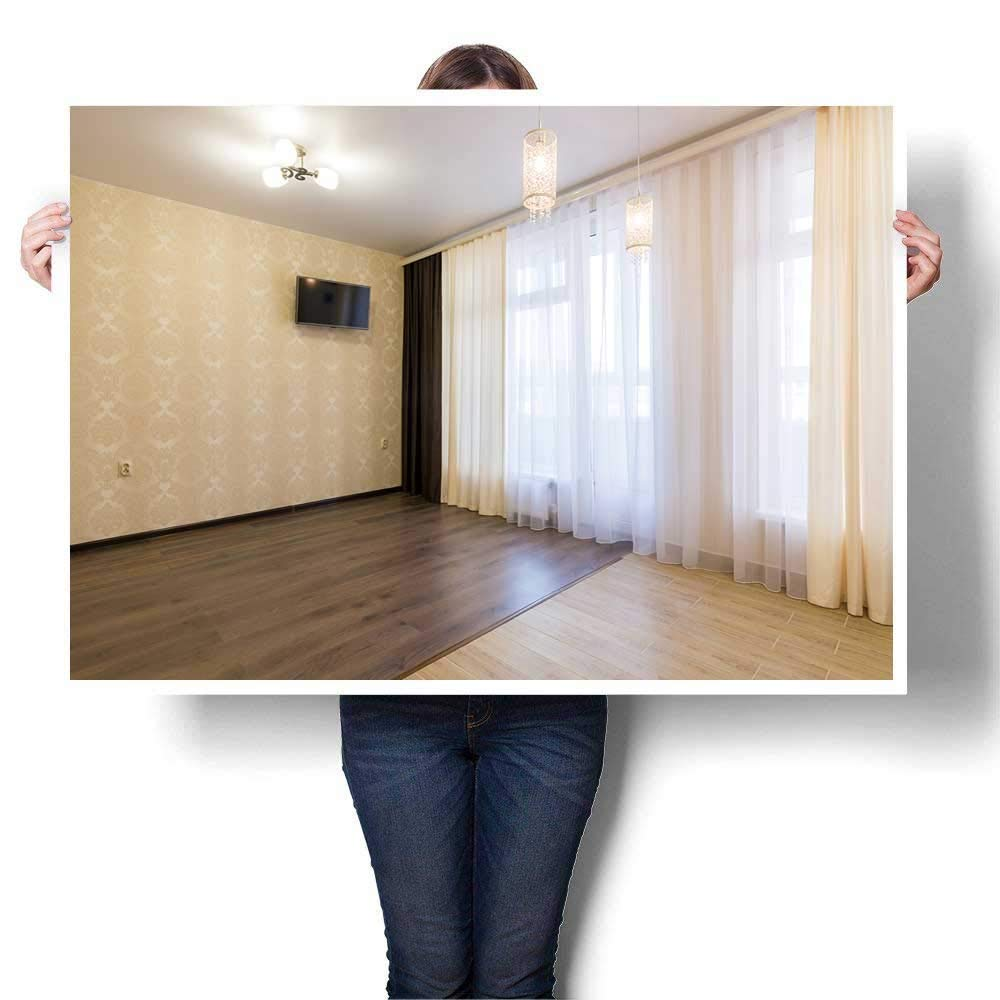 """SCOCICI1588 Modern Art Picture Colorful Canvas Print The Interior n Empty Room in The Newly renovated with a curtained Window Painting,52"""" W x 28"""" L Artwork for Kitchen Room Decor(Frameless)"""