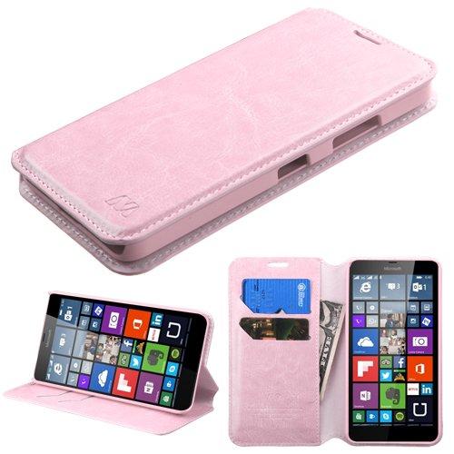 Phone Stylus Nokia (Microsoft Lumia 640 LTE Nokia Case - Wydan (TM) Credit Card Leather Wallet Style Case Cover for Microsoft Lumia 640 LTE Nokia - Light Pink w/Wydan Stylus Pen)