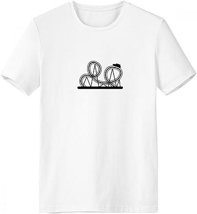 DIYthinker Negro de la montaña rusa del parque de atracciones de la silueta con cuello redondo de la camiseta blanca de manga corta Comfort Deportes camisetas regalo: Amazon.es: Ropa y accesorios