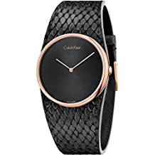 Calvin Klein K5V236C1 Ladies Spellbound Black Leather Strap Watch