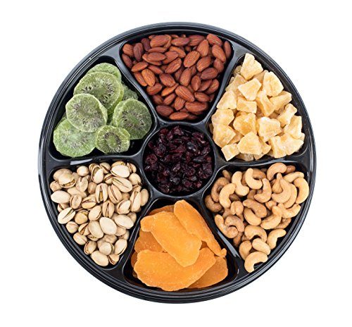 Sungood Fresh Gourmet Dried Fruits & Nuts Gift Basket, 7 Section Tray, Contains A Different Variety of Dried Fruits and Roasted Nuts.
