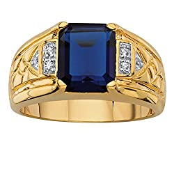 18K Yellow Gold Plated Emerald Cut Blue Sapphire with Diamond Accent Ring