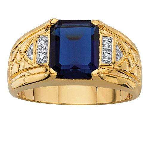 Mens Diamond & Sapphire Ring (Men's Emerald-Cut Lab Created Blue Sapphire and Diamond Accent 18k Gold-Plated Etched Ring Size 10)