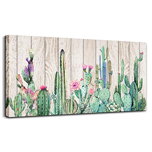 Canvas Wall Art Simple Life Green Cactus Desert Plant Painting Wall Art Decor Wood Grain Canvas Prints Watercolor Ready to Hang for Home Decoration Living Room Bedroom Bathroom Office Posters Artwork