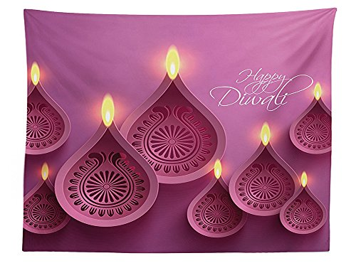 vipsung Diwali Decor Tablecloth Paisley Design Burning Candles for Religious Festive Celebration Carvings Dining Room Kitchen Rectangular Table Cover Purple (Batman Pumpkin Carving)