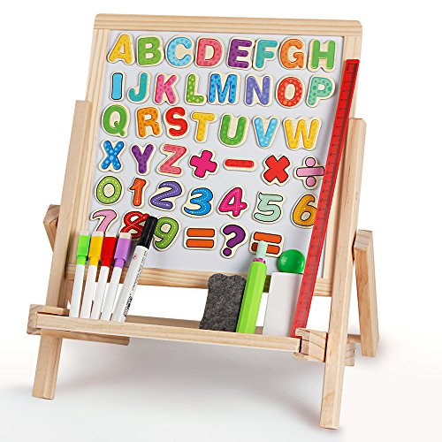 3 in 1 Wooden Magnetic Double-sided Kids Art Easel Tabletop Adjustable Dry Erase and Chalkboard with Accessories for Toddlers Preschool (3 Way Easel)