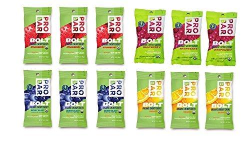 Probar Bolt Organic Energy Chews Orange, Raspberry, Strawberry, Berry Blast - Three of Each Flavor, Box of 12 by Probar