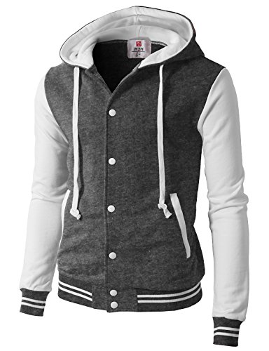 H2H Men Long Sleeves Button Front Letters Varsity Jacket CHARCOALWHITE US M/Asia L (CMOJA099)