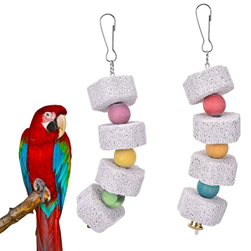 51haZsORTrL - CoscosX Small Animal and Bird Grinding Stones Bird Parrot Chew Toy Teeth Shred Colorful Beads Clean Tool ( Two piece)
