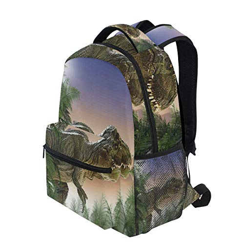 KVMV Dinosaur The Jungle Trees Forest Nature Woods Scary Predator Violence Lightweight School Backpack Students College Bag Travel Hiking Camping Bags]()
