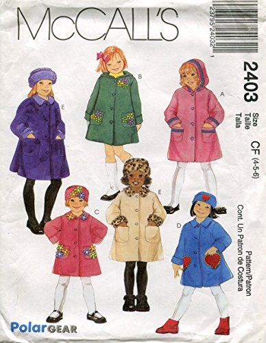 (McCall's Pattern 2403 Girls' Unlined Coats and Hat, Size CF (4-5-6))