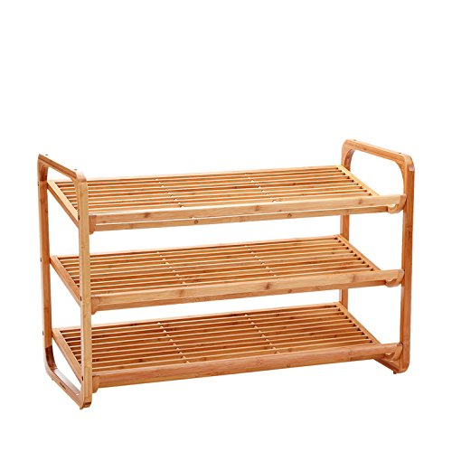 Domax 3-Tier Shoe Rack Free Standing Storage Shelf Natural Bamboo Shoe Organizer Suit for Entryway Hallway by Domax