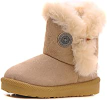 Poppin Kicks Girls Bailey Button Snow Boots Kids Winter Faux Fur Flat Shoes Brown 11 M US Little Kid