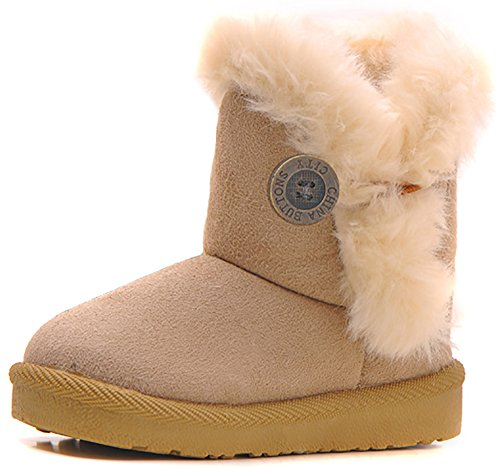 Poppin Kicks Girls Bailey Button Faux Shearling Fur Insulated Snow Boots Kids Winter Flat Shoes Beige 10.5 M US Little Kid ()