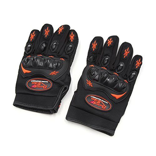 uxcell Pair L Size Scooter Motorcycle Full Finger Nonslip Loop Fastener Racing Gloves Black