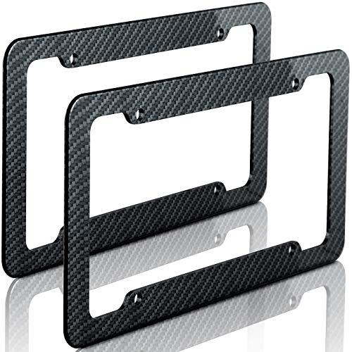 OxGord Carbon Fiber License Plate Frame for Front or Back Vehicle Tag Cover fits Cars Trucks SUVS Vans - 2pc