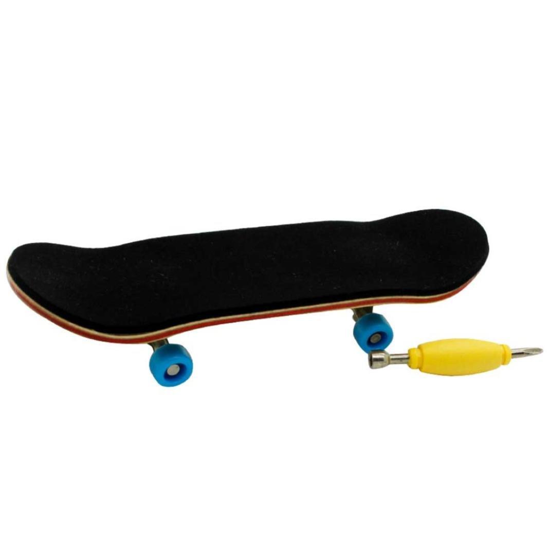 Livoty Professional Mini Fingerboards Finger Skateboard Maple Wood Skate Board Kids Toy Great Gift (Light Blue Bearing Wheels) (Black, 3.7 x 1.1 x 0.6 inches)