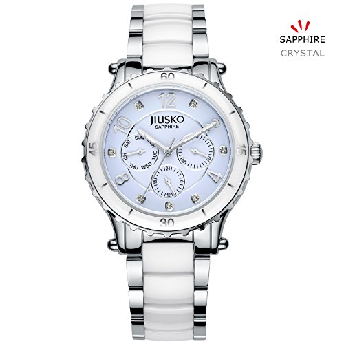 Jiusko Women's 83LSY01 Quartz Multifunction 24 Hr Stainless Steel White Ceramic Dress Wrist Watch