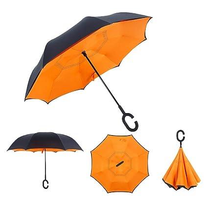 Amazon.com: Paraguas invertido de doble capa, mango en forma ...