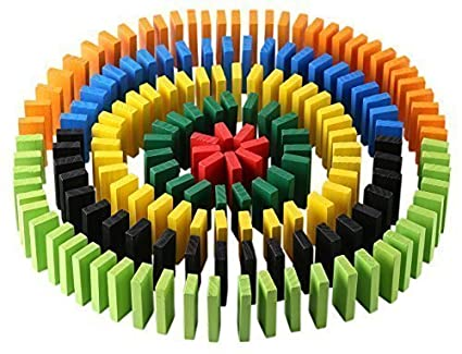 Click n Play Click N Play 300-Piece 100% Real Wooden Domino Blocks Set, Racing Toy Game, Building And Stacking To