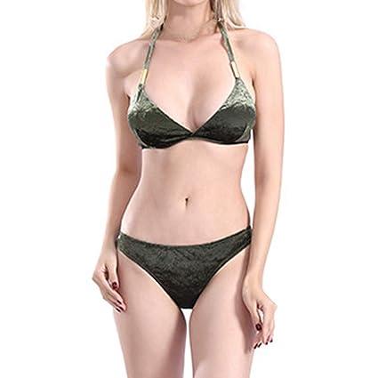 b2ae25ae0467 Go First Mujer Trajes de baño Bikini de Dos Piezas con Parte Inferior de  Estilo brasileño de Bikini en la Parte Inferior Traje de baño Correa de  Espagueti ...