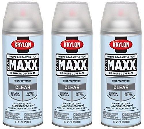 Krylon 9148 COVERMAXX Spray Paint, Flat Crystal Clear Acrylic, 12 Ounce (3 Pack) (Acrylic Clear Krylon)