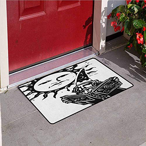 - GloriaJohnson Fantasy Inlet Outdoor Door mat Wizard Reading Magic Book Beneath The Sun with Face Sacred Spiritual Legend Image Catch dust Snow and mud W19.7 x L31.5 Inch Black White