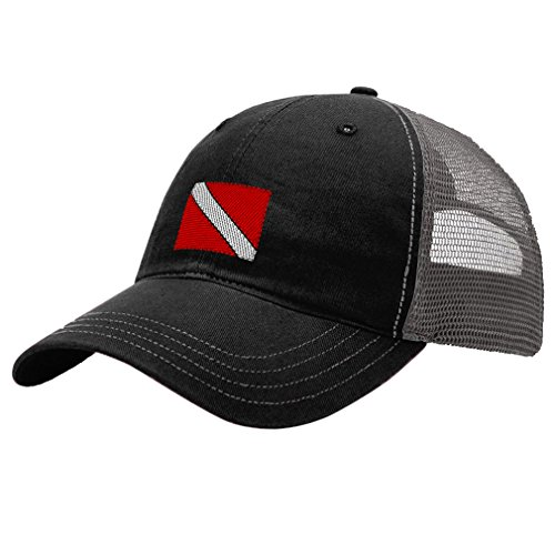 Hat Diver (Sport Scuba Diving Flag Embroidery Unisex Adult Snaps Cotton Richardson Front and Mesh Back Cap Hat - Black/Charcoal)