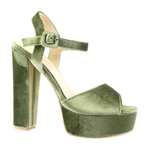 Angkorly - Chaussure Mode Sandale Escarpin plateforme sexy femme lanière Talon haut bloc 14 CM - Vert