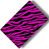 Custom & Decorative {16'' x 10'' Inch} 1 Single, Large ''Gaming'' Flexible Non-Slip Mousepad for Gaming, Made Of Easy-Glide Neoprene w/ Neon Cartoon Zebra Animal Print Girly [Pink & Black]