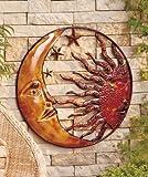 Metal Celestial Moon Sun Wall Decor Garden Art