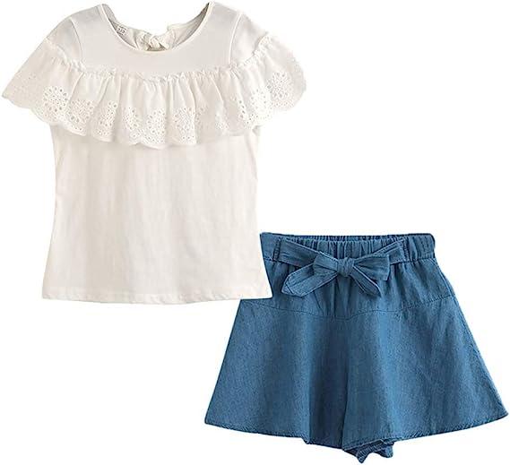 Gyratedream Niña Ropa Verano Conjunto 2 Piezas Trajes Niñas 3-12 Años Camiseta Manga Corta Tops + Shorts Pantalones Cortos Casuales: Amazon.es: Ropa y accesorios