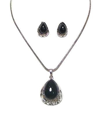 ef09fc0ec Ladies Silver Black Stones Necklace Earrings Set Diamante Crystal Fancy  Dress Wedding Bridal Jewellery For Women Girls: Amazon.co.uk: Jewellery
