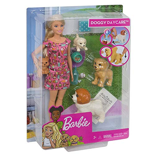 Barbie Doggy Daycare Doll & Pets, Blonde (Best Place To Sell Barbie Dolls)