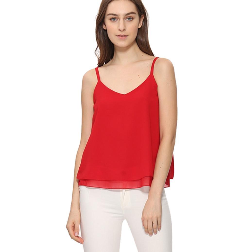 WOCACHI Women Blouse Summer Chiffon Vest Top Sleeveless Casual Tank Loose Tops T-Shirt YC575099140