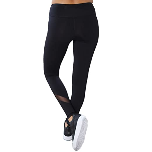 Amazon.com: Bravetoshop Women Patchwork Mesh Leggings Ankle ...