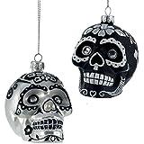 Kurt Adler 1 Set 2 Assorted 3 Inch Glass Day of The Dead Skull Ornaments